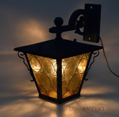 Lampa vintage retro zewnętrzna do ganku ogrodowa. Kinkiet